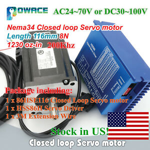 us cnc Hss86 2 phase Hybrid Driver Servo Motor Nema34 8n m Closed Loop 116mm