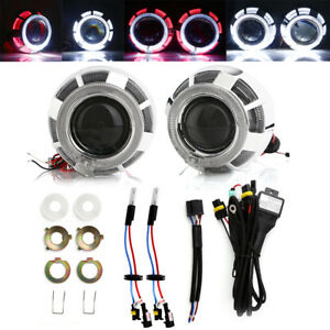 3 Bi Xenon Hid Projector Lens Headlight Kit Conversion With Double Angel Eyes