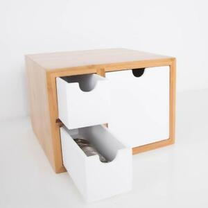 Desk Bamboo Organizer Desktop Storage Holder Wood Drawers Modern Box Table New