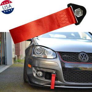 Sport Red High Strength Racing Tow Strap Set For Bmw Gt Subaru Front Rear Bumper