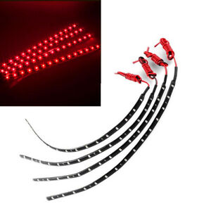 4pcs Red Led Strip Lights Interior Glow Neon Lighting Car Truck Suv 30cm 15smd