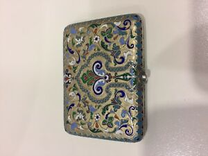 Antique Russian 84 Silver Enamel Cigarette Case Khlebnikov