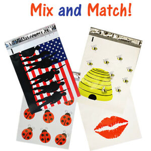 10x13 Poly Mailers Bees Flag Lips Bugs quality Flat Shipping Envelopes Bags