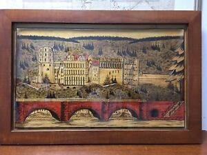 Black Forest Hand Carved Painted 3d German Mid Century Folk Art Wall Hanging 1