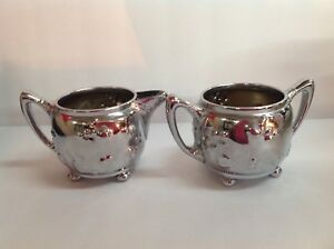 Antique Old Set Reed Barton 3184 Plated Gilt Creamer Sugar Bowl