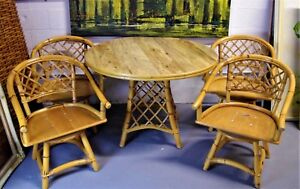 Vtg Ficks Reed 5 Pc Mid Century Modern Bamboo Rattan Dining Set Table
