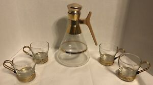 Mid Century Modern Vintage Atomic Coffee Pot And Cups 22 Kt Carafe 11 High