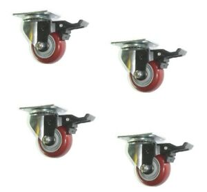 Set Of 4 Swivel Plate Casters With Floor safe 3 Maroon Poly Wheel