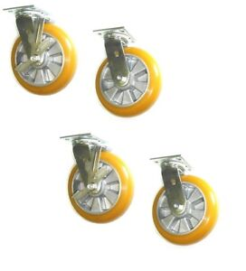 clearance Four Swivel Casters With 6 Poly Wheel 4 X 4 1 2 Plate brake