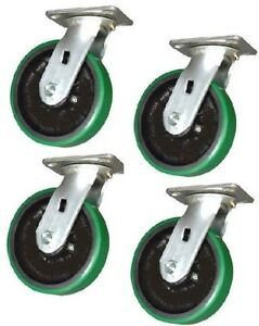 Set Of 4 New Swivel Casters With Polyurethane On Steel 6 X 2 Wheels Mh620ps s