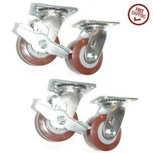 clearance 4 Swivel Plate Casters 4 Polyurethane Wheel With Brake