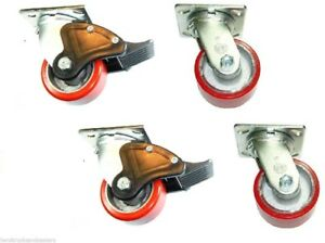 4 Durable Swivel Plate Casters 4 X 2 Polyurethane Wheel With Brake