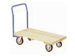 Warehouse Style Wooden Platform Dolly 24 X 48 Long With Non marking Wheels