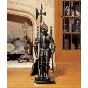 Medieval Foundry Iron Replica French Black Knight Scalpture Fireplace Tool