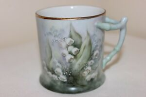 Hand Painted Porcelain Cup Tree Trunk Handle Beautiful Detail