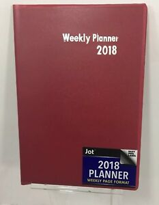 Jot 2018 Weekly Planner Plastic Cover 5 X 7 5 Inches Small Book Weekly Pages Red