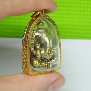 Lord Ganesh Pendant Brass Statue Gold Color Holy Hindu God Ganesha Blessing
