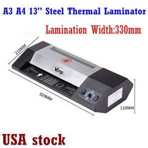 Us a3 A4 Steel Thermal Laminator Hot cold 13 Machine Roller Pouch Photo Office