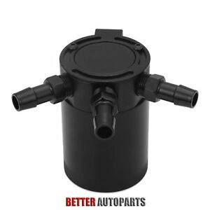 Universal Compact Baffled 3 port Oil Catch Can Tank Air oil Separator Black