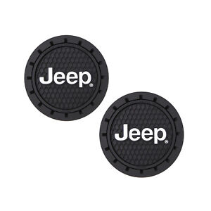 Jeep Logo Auto Cup Holder Coaster 2 Pc Set Item