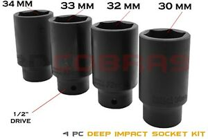 4 Pc 1 2 Drive Impact Deep Spindle Axle Socket Remover 30mm 32mm 33mm