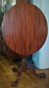 Tilt Top Tea Table Solid Mahogany Turned Carved C1920 Colonial Revival 29 D