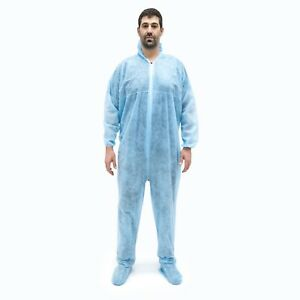 Disposable Protective Coverall Suit Hood Boots Dust Proof Bunny Suit Pack 25 2xl