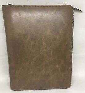 Day Timer Planner Classic Bomber Jacket Faux Leather Brown 3 Ring Agenda Vtg