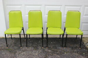 Vintage Lime Green Vinyl Dining Room Chairs Set Of 4
