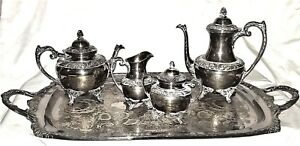5pc Coffee Tea Set 33 Tray Silverplate Heritage 1847 Rogers Bros Is Rococo