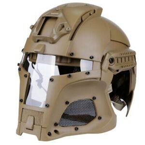 Full Face Hunting Protective Mask Tactical Airsoft Helmet w 4 Pairs Goggles BK