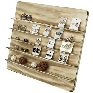 Mygift Torched Wood 5 Tier Retail Jewelry Showcase Rack Countertop Small