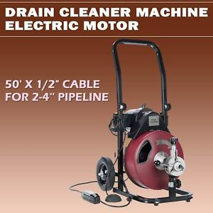 Electric Drain Cleaning Machine 50ft 1 2 Sewer Snake Drill Drain Auger Cleaner