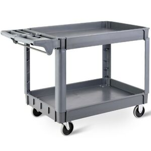 49 5 Lbs Plastic Utility 2 Shelves Rolling Service Warehouse Cart Gray Us