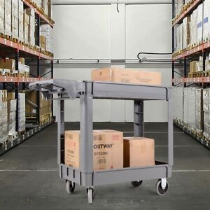 40 X 17 X 33 Plastic Utility 2 Shelves Rolling Warehouse Service Cart Gray Us