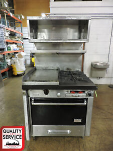 Vulcan H10 Commercial Gas Split Top Range With Oven And Overshelves