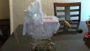 Antique Baby Doll Carriage Wicker Metal Lace 11 5 X 12 X 5