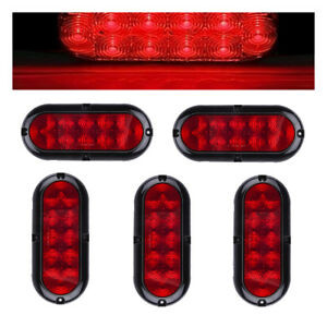 5x 6 Oval Flange Mount Red Clearence Tail Marker Light Trailer Truck Sealed Led