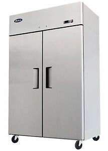 52 Double 2 Door Side By Side Stainless Steel Reach In Commercial Freezer
