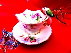 M T Miniature Parrot Bird Handle Hand Painted Japan Sweet Footed Cup