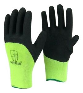 Lot Safeguard Highly Visible Green Knit Latex Palm Coated Nylon Work Gloves
