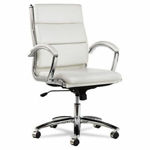 Lot Of 6 White Leather Conference Room Table Chairs With Padded Arms Alera