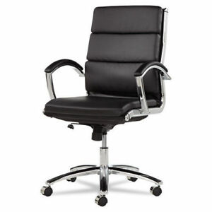 Lot Of 4 Black Leather Conference Room Table Chairs With Padded Arms Alera