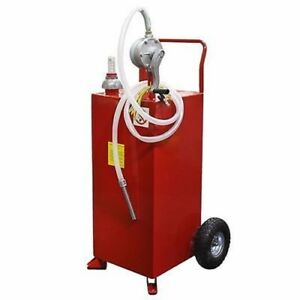 Rolling Portable 30 Gallon Fuel Gas Storage Transferring Transfer Tank Hand Pump