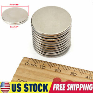 Lot 5 50pcs Super Strong 25mm X 2mm N35 Round Disc Rare Earth Neodymium Magnets
