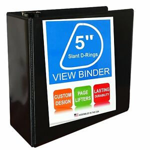 3 Ring Binder Slant D rings Clear View Pockets 5 Inch Black