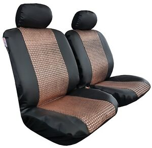 Gilding Gold Black Leatherette Girly Sports Airbag Seat Covers Front Set Car Suv