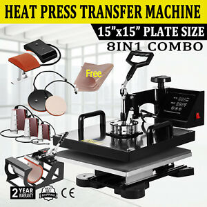 8in1 Combo T shirt Heat Press Transfer 15 x15 Mug Plate Hat Machine Swing Away
