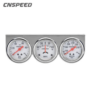 2 52mm Oil Pressure Amp Meter Water Temp Triple Gauge 3 In 1 Set Chrome Panel