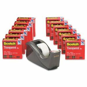 Scotch Transparent Tape With C60 Desktop Dispenser 3 4 X 1000 Inches 12 Rolls